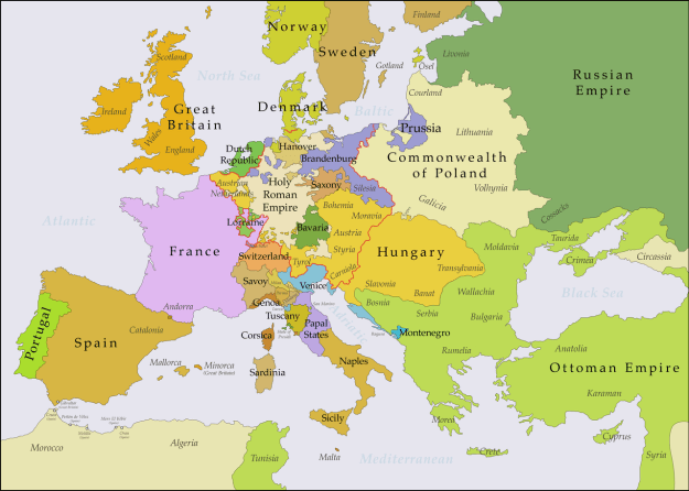 A map of Europe following the Treaty of Aix-la-Chapelle.
