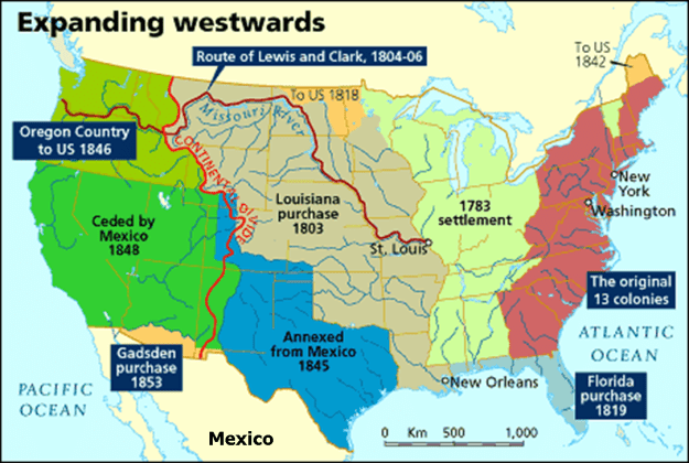 A map of US land acquisitions.