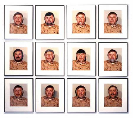 """John Baldessari's 'Portrait (Self) #1 as control + 11 Alterations by Retouching and Airbrushing"""" (1974)."""