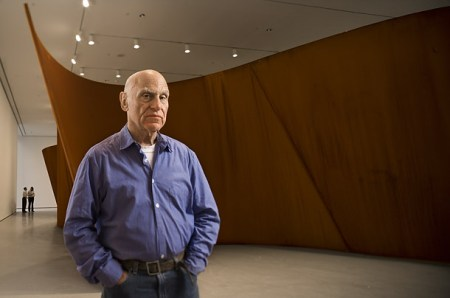 Richard Serra with one of the sculptures from 'The Matter of Time' (2005).