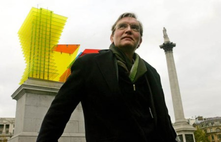 Thomas Schutte with 'Model for a Hotel' (2007) in Trafalgar Square. Photo by CARL DE SOUZA/AFP/Getty Images.
