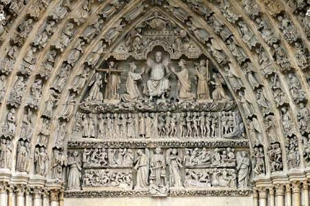 The Last Judgment relief sculptures, Amiens Cathedral, Amiens, France.
