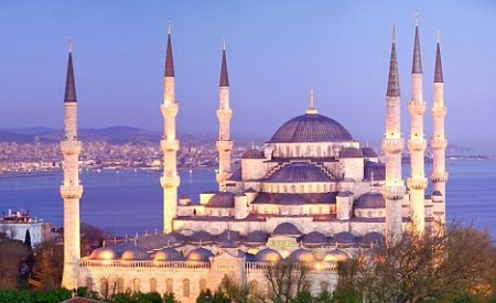 The Sultan Ahmet Mosque (Blue Mosque) in Istanbul, Turkey.