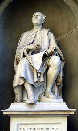 This statue of Filippo Brunelleschi in Florence shows the architect looking up at his masterpiece - the dome of Florence Cathedral.
