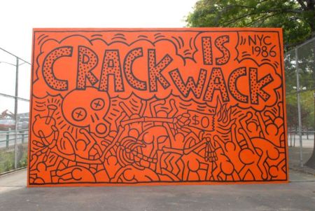 A mural by Keith Haring in Crack Is Wack Park in New York City.