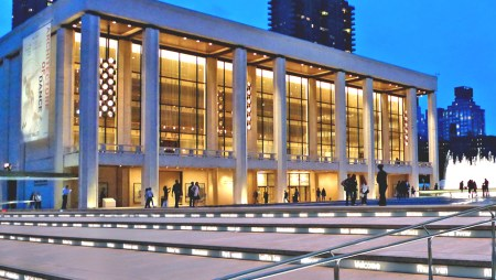 The David Koch Theater (formerly the New York State Theater) at Lincoln Center in New York City, by Philip Johnson and Richard Foster.
