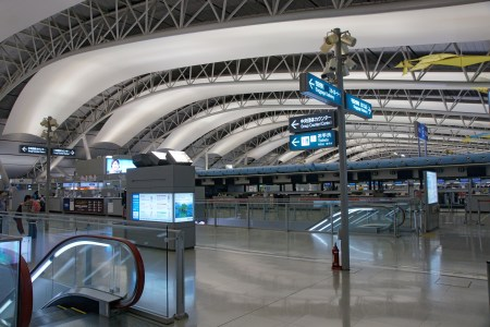 The fourth floor ticketing hall of the Kansai International Airport in Osaka, Japan.