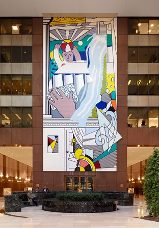 Mural with Blue Brushstroke (1986) by Roy Lichtenstein at the AXA Center in New York City (formerly the Equitable Tower).
