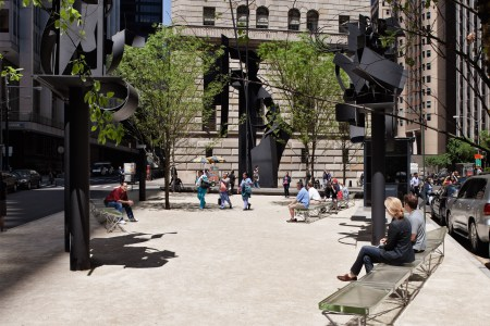 Louise Nevelson Plaza, with sculptures by Louise Nevelson, in New York City.