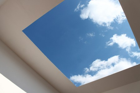 Meeting, a skyspace by James Turrell at PS1 Contemporary MOMA, in Brooklyn, New York.