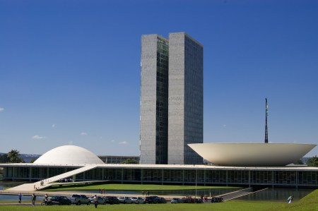 The National Congress of Brazil, in the capital city of Brasilia, designed by Oscar Niemeyer.