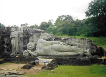 The Reclining Buddha at Polunarwa in Sri Lanka.