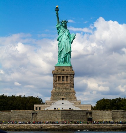 The Statue of Liberty, on Liberty Island in New York Harbor.