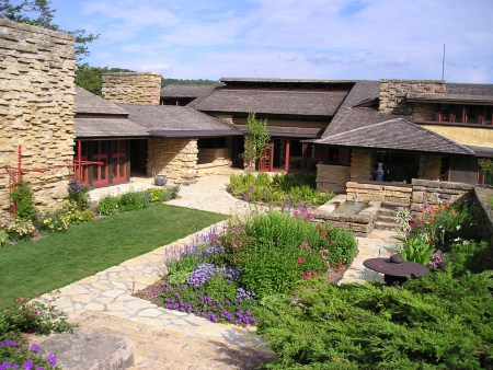 Taliesin, in Spring Green, Wisconsin, was designed by Frank Lloyd Wright.
