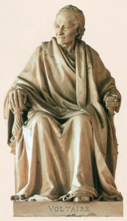 Voltaire, Seated, by Jean-Pierre Houdon, in the Comédie-Française, Paris, France.