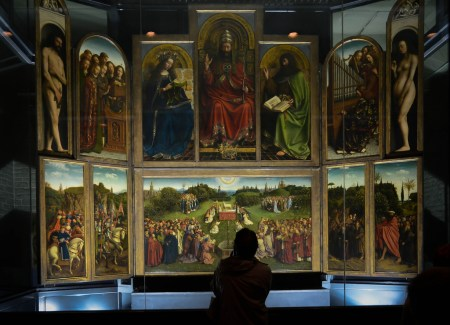 The Ghent Altarpiece, by Jan (and possibly also Hugo) van Eyck, is located in St. Bavo Cathedral in Ghent, Belgium.