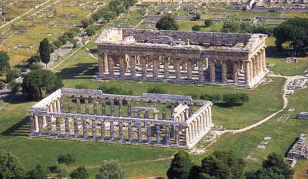 An aerial view of two of the temples at Paestum, near Naples, Italy.