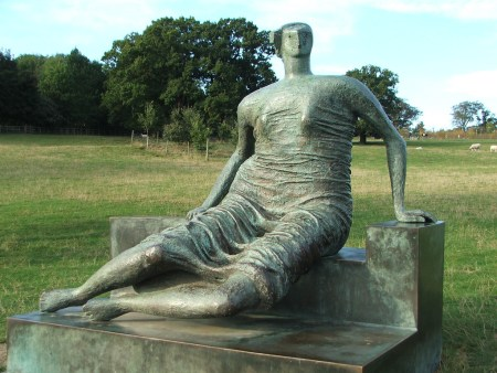 Henry Moore's Draped Seated Woman, at Yorkshire Sculpture Park, XXX, UK.