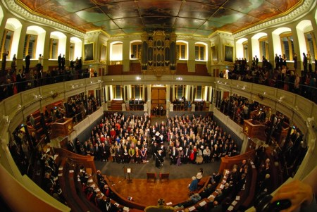 An interior view of Christopher Wren's Sheldonian Theatre, in Oxford, UK.