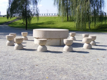 The Table of Silence is one component of Constantin Brâncuși 's sculptural ensemble at Târgu Jiu in Romania.