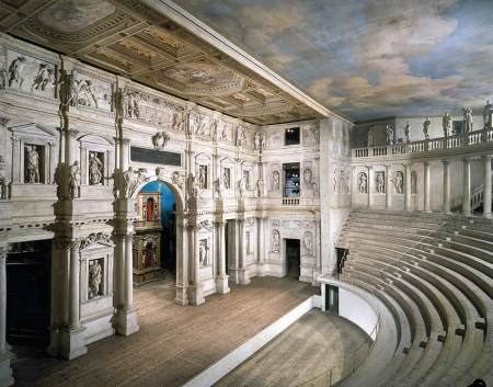 Andrea Palladio's Teatro Olimpico is one of the first enclosed theaters ever built.