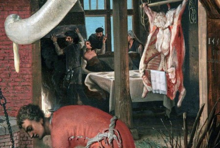 Detail from the right side of Aertsen's Butcher's Stall.