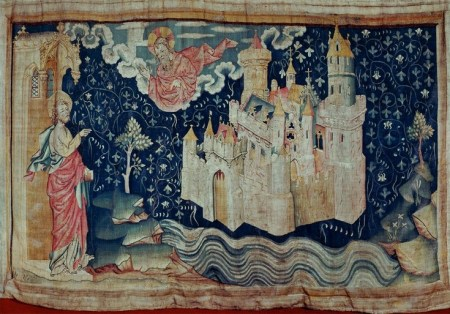 A scene from the Apocalypse Tapestry showing the heavenly Jerusalem.