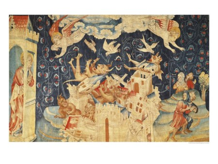 A scene from the Apocalypse Tapestry, showing Babylon being invaded by demons.