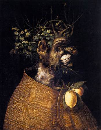 Giuseppe Arcimboldo painted four versions of The Four Seasons using characters made of natural materials. Here is Winter from the version at The Menil Collection.