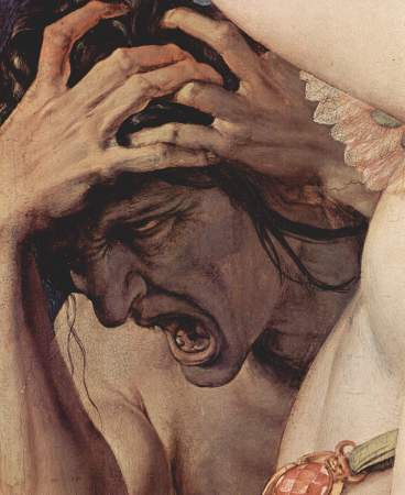 Detail from Bronzino's Venus, Cupid, Folly and Time, showing an allegorical figure whose exact identity is disputed reacting violently to the incestuous behavior of Venus and her son Cupid.