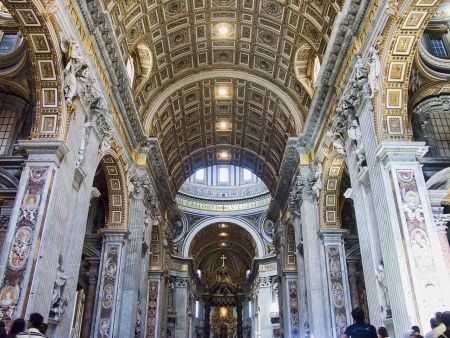 After being appointed chief architect of St. Peter's Basilica in 1602, Carlo Moderno designed and completed a number of projects, including the façade, the narthex and the nave, which is shown above.