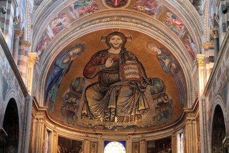 Although Cimabue is known primarily for his painting, he was also a skilled mosaicist, as shown by his mosaic of Christ in the apse of the Pisa Cathedral.