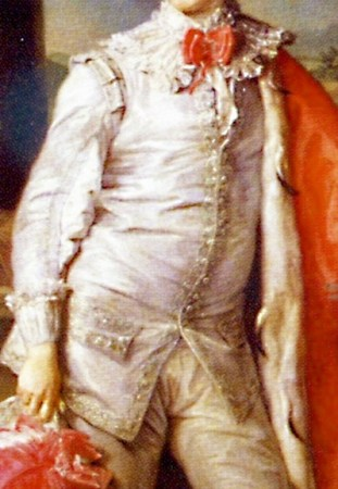 Detail of Pompeo Batoni's Portrait of Thomas William Coke. Batoni's specialty was painting souvenir portraits for Britons visiting Italy on the Grand Tour.