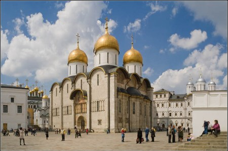 The Dormition Cathedral (Cathedral of the Assumption) in the Kremlin in Moscow.