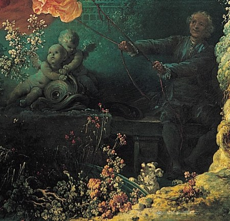 Detail of Fragonard's Rococo painting The Swing, showing the lady swinger's cuckold husband and two Cupids.
