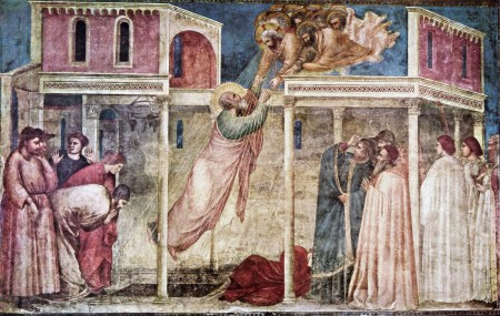 The Ascension of St. John the Baptist was one of the frescoes Giotto painted in the Peruzzi Chapel of Florence's Church of Santa Croce.
