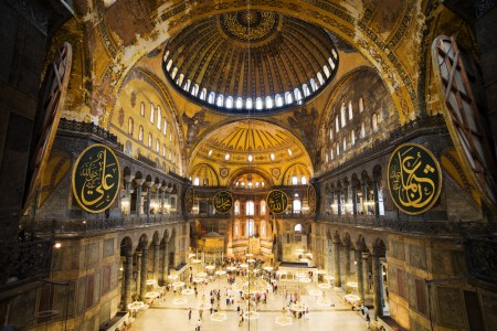 An interior view of Hagia Sophia, which began as a Christian church, became a Muslim holy place and is now a Turkish national monument.