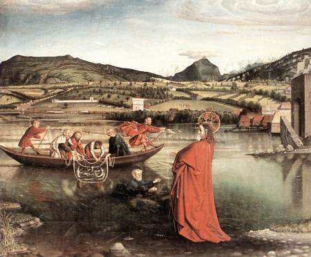 The Miraculous Draught of Fishes by Konrad Witz tells a Biblical story, but is also famous in art history for its realistic landscape.
