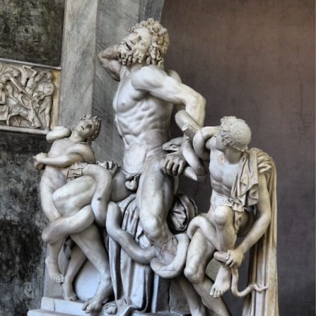 An oblique-angle view of Laocoön_and_His_Sons, which was rediscovered in Rome in 1506 and is now on display in the Vatican Museums.