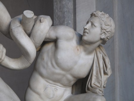 Detail of Laocoön and His Sons, showing one of the sons. Some scholars believe the statue is a copy of a lost Greek bronze original.