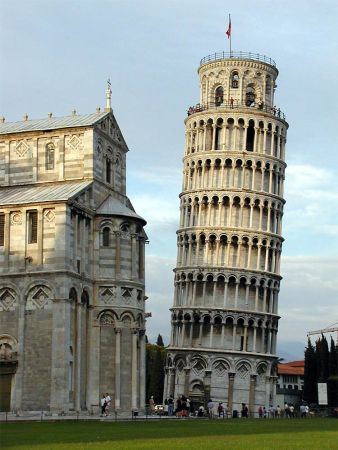 The Leaning Tower of Pisa is the bell tower, or campanile, of the Pisa Cathedral, seen at left.