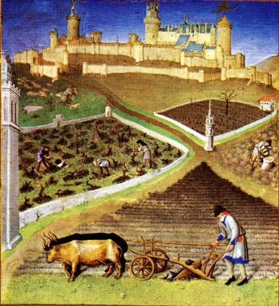 The illustration for the month of October in Les Tres Riches Heures du Duc de Berry.