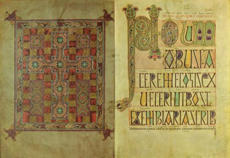 Two pages from the Lindisfarne Gospels.