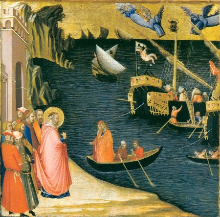 The Uffizi Gallery in Florence owns four scenes of the life of St. Nicolas di Bari, painted by Ambrogio Lorenzetti, which may have been part of a larger polyptych. In this scene, St. Nicolas performs a miracle by filling the ships' holds with grain.