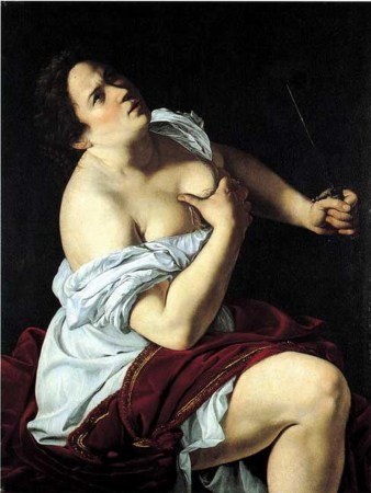 Artemisia Gentileschi's 1621 painting of Lucretia, the Roman woman who was raped by the King and attempted suicide to avoid dishonor.