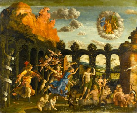 Andrea Mantegna's Triumph of the Virtues is a late work with a mythological theme, unlike most of his paintings, which treat religious subjects.