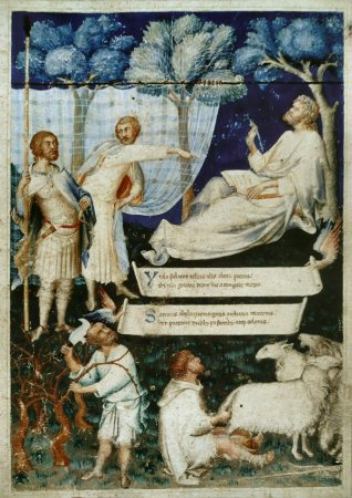 In addition to his religious and secular frescoes and panels, Simone Martini illustrated the cover of Petrarch's translation of Virgil.