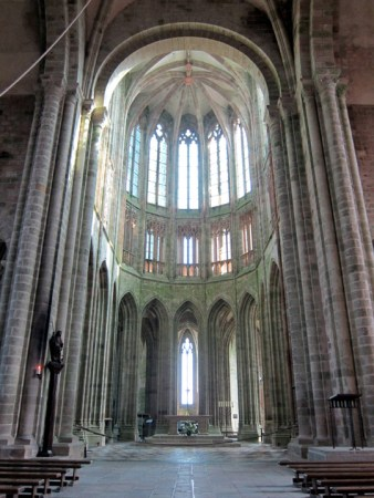 An interior view of the Mont St. Michel Abbey Church.