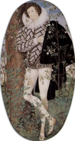 Some experts believe that the subject of Nicholas Hilliard's miniature, Young Man Among Roses, is Robert Devereaux, 2nd Earl of Essex, a favorite of Elizabeth I, even though he was 30 years her junior.