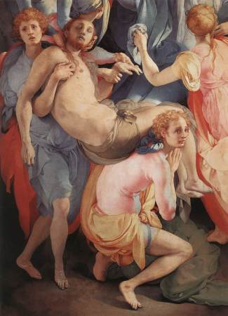 Detail of Jacopo Pontormo's Deposition of Christ, showing Christ's body supported by two young men, who may be angels.
